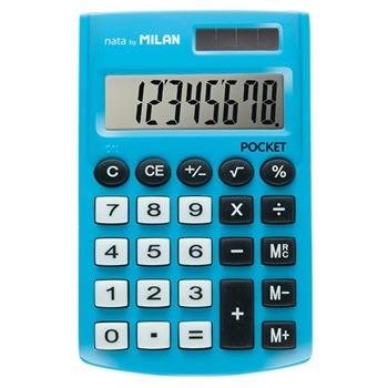 Калкулатор Milan Pocket, 8 разряден дисплей, джобен, 3 memory бутона и функция корен квадратен, автоматично изключване, син image