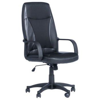 Работен стол Carmen 6511, газов амортисьор, полипропиленова база, еко кожа, черен  image