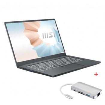 "Лаптоп MSI Modern 14 B11MO (9S7-14D314-026)(сив) с подарък USB хъб MSI 9-in-1 Type-C Multiport Hub, двуядрен Tiger Lake Intel Core i3-1115G4 1.7/4.1 GHz, 14.0"" (35.56 cm) Full HD IPS Anti-Glare Display, (HDMI), 8GB DDR4, 256GB SSD, 1x Type-C, No OS image"