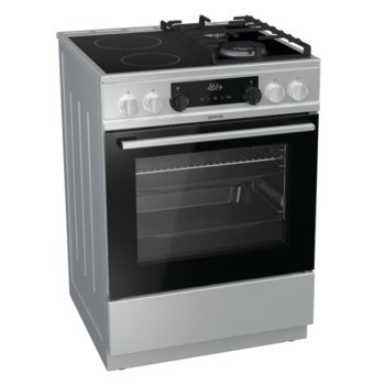 Готварска печка Gorenje KC6355XT, клас А, 4 нагревателни зони (2 стъклокерамични/2 газови), 67 л. обем, AquaClean почистване, Система за сигурност, инокс  image