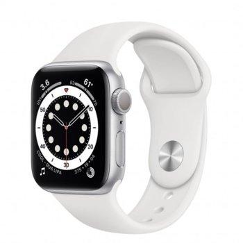 "Смарт часовник Apple Watch Series 6, 40mm, 1.57"" (3.99 cm) Retina OLED дисплей, Bluetooth, 50m water resistant, до 18 часа време на работа, White Sport Band - Regular, сребрист image"