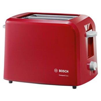 Тостер Bosch TAT 3 A 014, aвтоматично изключване, сензор за равномерно препичане, 980 W, червен image