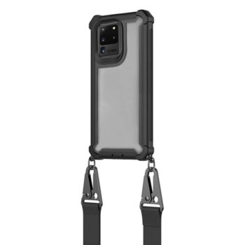 Калъф за Samsung Galaxy S20 Ultra, хибриден, 4Smarts Sling Downtown 4S467600, с лента за врата, черен-прозрачен image