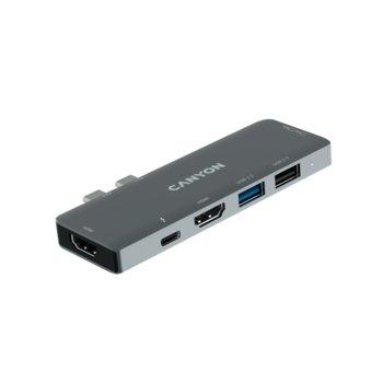 Докинг станция Canyon Multiport Docking Station CNS-TDS05B, 1x USB Type-C, 2x HDMI, 1x USB 3.0, 1x SD Card reader, image