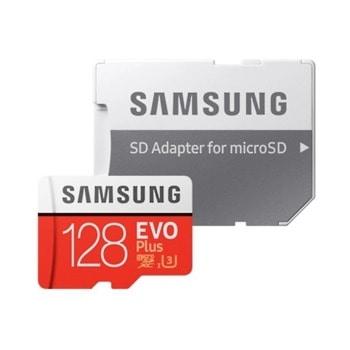 Карта памет 128GB microSDXC с адаптер, Samsung EVO+ MB-MC128HA/EU, скорост на четене 100MB/s, скорост на запис 60MB/s image