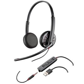 Слушалки Plantronics Blackwire C325, микрофон, професионални, Hi-Fi аудио, USB, 3.5 мм жак, черни image