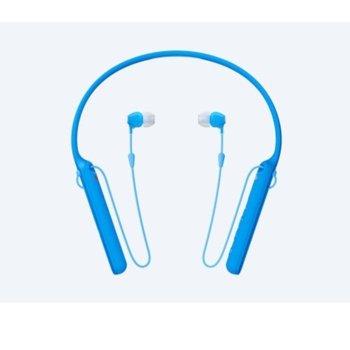 """Слушалки Sony WI-C400, Bluetooth, тип """"тапи"""", сини image"""