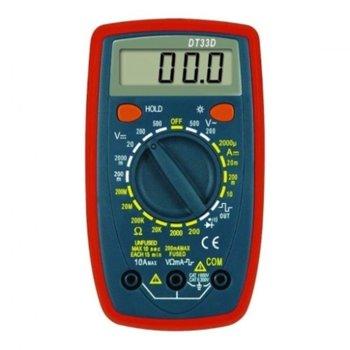 Дигитален мултиметър DT-33, LCD дисплей, защита от претоварване, индикатор за слаба батерия и зумер, червено-черен image