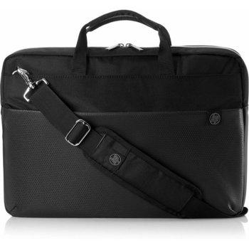 """Чанта за лаптоп HP Duotone Slvr Briefcase 4QF95AA, до 15.6"""" (39.62 cm), полиестер, черна image"""
