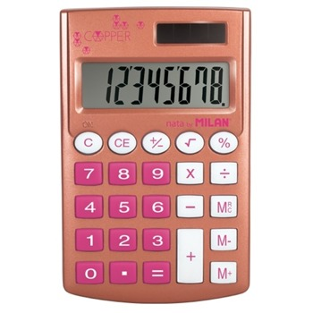 Калкулатор Milan Copper, 8 разряден дисплей, джобен, 3 memory бутона и функция корен квадратен, автоматично изключване, червен image