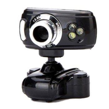Уеб камера WEBCAM 3 LED 033 , микрофон, (640x480/30 Fps), USB, черна image