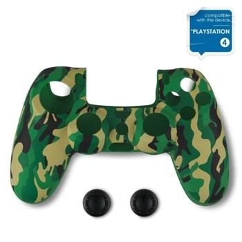Протектор Spartan Gear Silicon Skin Cover + Thumb Grips, за Dualshock 4, зелен камуфлаж image