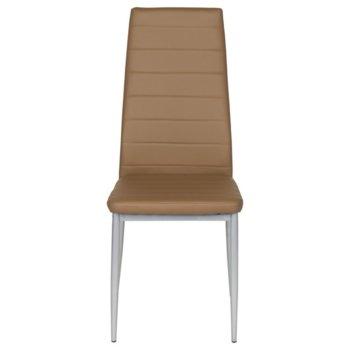 Трапезен стол Carmen 310, еко кожа, прахово боядисан, кафяв image