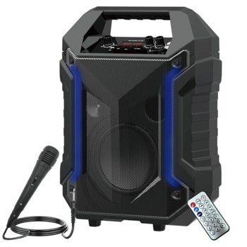 Тонколона Moveteck TF4168, 1.0, 25W RMS, Bluetooth 5.0, AUX, USB, SD карта (До 32GB), черна, караоке, LED дисплей, RGB подсветка, 3000mAh батерия image