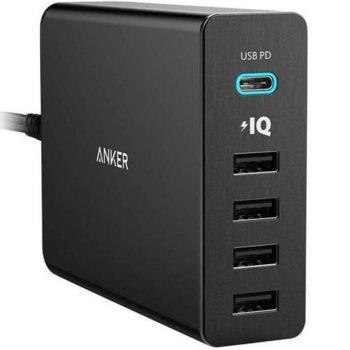 Зарядно устройство Anker PowerPort+ 5 Ports, от контакт към 1x USB Type C (ж) и 4x USB Type А (ж), 5V/3A; 9V/3A; 15/1.5A; 20V/1.5A, черно image