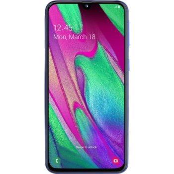 "Смартфон Samsung Galaxy A40 (син), поддържа 2 sim карти, 5.9"" (14.98 cm) Super AMOLED дисплей, осемядрен Exynos 7885 Octa (2x 1.77GHz & 6x 1.59GHz), 4GB RAM, 64GB Flash памет (+ microSD слот), 16.0 + 5.0 & 25.0 Mpix camera, Android, 140g image"
