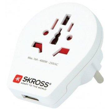 Адаптер Skross 1500260, 1 гнездо, от World към EU, 1 USB изход 5V/2100 mA, бял image