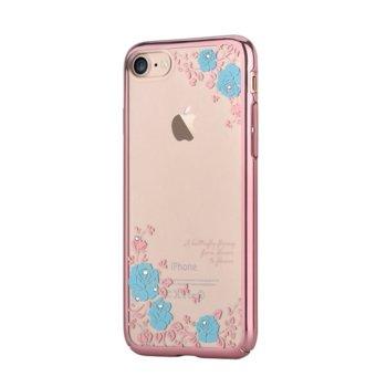 Калъф за Apple iPhone 8 Plus, поликарбонатов, Devia Crystal Joyous, прозрачен с кристали Сваровски, със сини цветя image