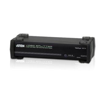 Видео сплитер ATEN VS174, от 1x DVI(ж), 1x 3.5мм жак(ж) към 4x DVI(ж), 4x 3.5мм жак(ж), до 2560x1600 резолюция, 1 устройство image