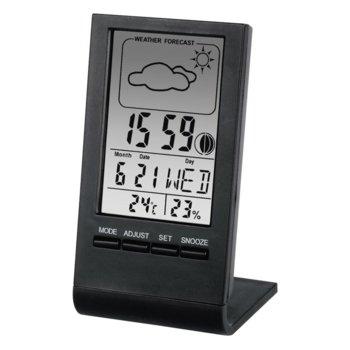 Цифров термометър/хигрометър Hama TH-100, часовник / верометър / календар / аларма, черен image