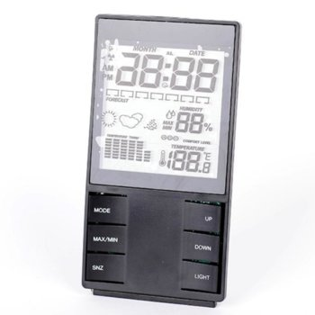 Електронна метеостанция Royal CX-505, термометър, часовник, дата, измерване на влага/влажност, LED Осветление, черна image