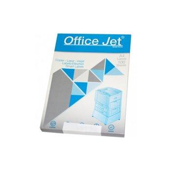 Етикети за принтери Office Jet, формат А4, размер 210х148.1mm, 2бр. на лист, опаковка от 100 листа, бели image