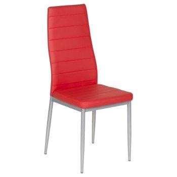 Трапезен стол Carmen 310, еко кожа, прахово боядисан, червен image