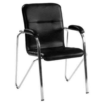 Посетителски стол Carmen Samba, еко кожа, подлакътници, хромирана база, черен image