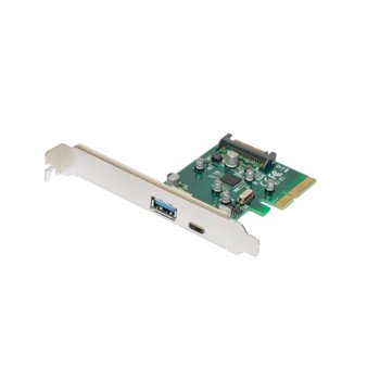 Контролер Makki MAKKI-PCIE-2XUSB31-AC-V1, от PCI-E x2 към USB A 3.1(ж) и USB 3.1 Type C(ж) image