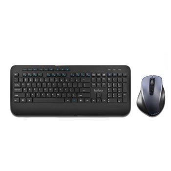 Комплект клавиатура и мишка Loshine T8900, безжични, подсветка, USB, черни image