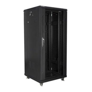 """Комуникационен шкаф Lanberg FF01-6627-12B, 19"""", 27U, 600 x 600 x 1381, стъклена врата, черен image"""