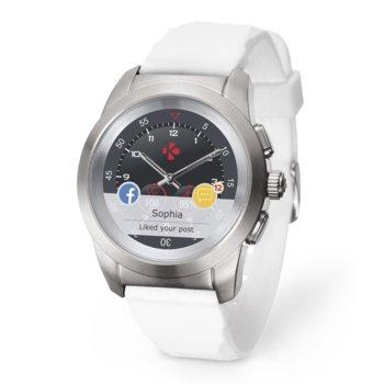 """Хибриден смарт часовник MyKronoz ZeTime Original, механични стрелки, 1.22"""" (3.09 cm) TFT сензорен дисплей, Bluetooth 4.2, до 3 дни време за работа в режим Smart, водоустойчив, бял-сребрист image"""