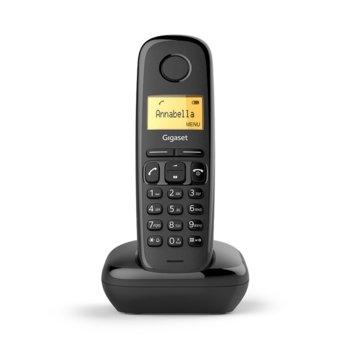 Безжичен телефон Gigaset A170 течнокристален триредов, черно-бял , вътрешен/външен обхват 300/50м, до 18 часа време за разговори, черен image