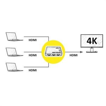 Видео сплитер Roline 14.01.3575, 3x HDMI(ж) входа към HDMI(ж) изход, 4K, 2160@60Hz image
