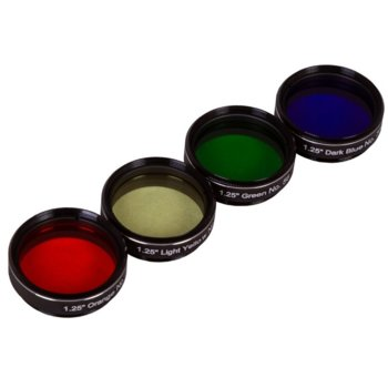Комплект филтри за телескоп Explore Scientific N4, включва зелен/тъмносин/оранжев/светложълт филтър, 1.25mm диаметър на цилиндъра, анти-рефлективни image