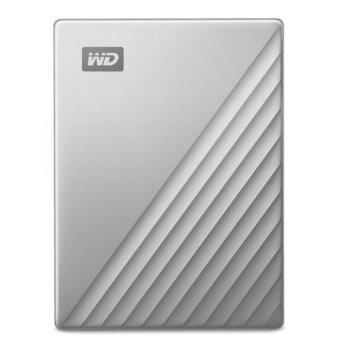 """Твърд диск 4TB, Western Digital MyPassport Ultra Silver WDBFTM0040BSL (сребрист), външен, 2.5"""" (6.35 cm), USB Type C image"""