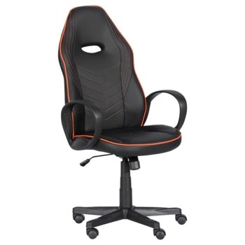 Геймърски стол Carmen 7530, до 130кг. макс. тегло, еко кожа, газов амортисьор, полипропиленова база, Tilt tension механизъм, коригиране на височина, черно-оранжев image