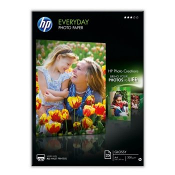 Фотохартия HP Everyday Glossy Photo Paper, A4, матова, 200 g/m2, 25 листа image