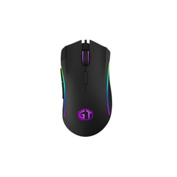 Мишка Delux M625BU, оптична (4000 dpi), гейминг, USB, черна, 7 програмируеми бутона, A3050 сензор, RGB подсветка image