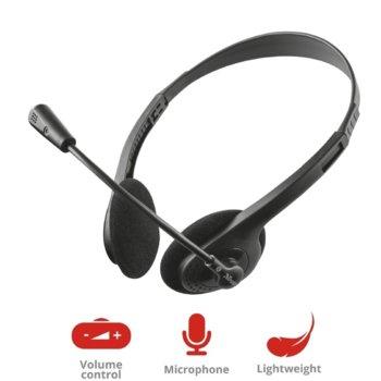 Слушалки Trust Primo, микрофон, 70 - 20000 Hz честотен диапазон, 3.5mm жак, черни image