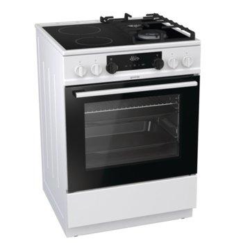 Готварска печка Gorenje KC6355WT, клас A, 4 нагревателни зони (2 стъклокерамични + 2 газови), 67 л. обем, AquaClean почистване, WarmPlate функция, бяла  image