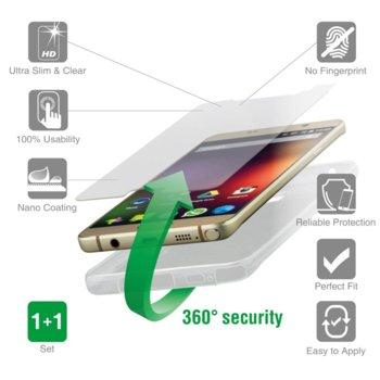 Комплект протектор от закалено стъкло/Tempered Glass/ и термополиуретанов кейс 4smarts 360° Protection Set, iPhone 8 Plus / 7 Plus, 1x микрофибърна и мокра кърпички,антистатична лепенка,удароустойчив, прозрачен image