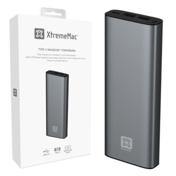 Външна батерия/power bank XtremeMac MACBOOK POWER BANK, 20100mAh - USB-C / USB-A - Space Grey image