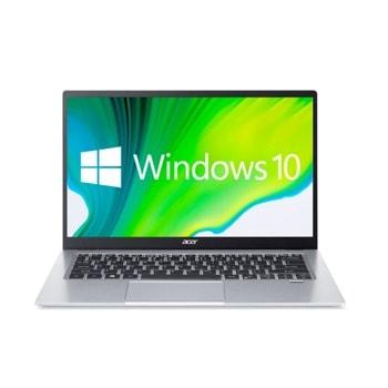 "Лаптоп Acer Swift 1 SF114-34 (NX.A77EX.008)(сребрист), четириядрен Jasper Lake Intel Celeron N5100 1.1/2.8 GHz, 14.0"" (35.56 cm) Full HD IPS Anti-Glare Display, (HDMI), 8GB DDR4, 256GB SSD, 1x USB Type-C, Windows 10 Home image"