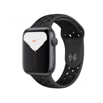 Смарт часовник Apple Watch Nike Series 5 GPS 44mm, 368 x 448 LTPO OLED дисплей, 32GB памет, Wi-Fi, Bluetooth, Watch OS 6, водоустойчив, черен с черна Nike Sport Band каишка image