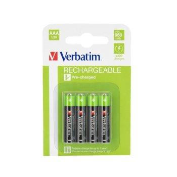 Акумулаторна батерия Verbatim NiMH, AAA, HR03, 1.2V, 950 mAh, NiMH, 4 броя image