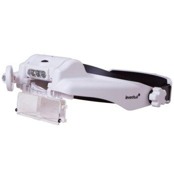 Лупа за глава с акумулатор Levenhuk Zeno Vizor HR2, 1,5x/2x увеличение, 3 светодиодни лампи, акумулаторна батерия image