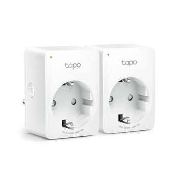 Смарт контакт TP-Link Tapo P100 2-pack, Wi-Fi, Bluetooth 4.2, Android/iOS, бял image