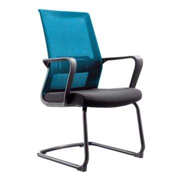 Посетителски стол RFG Smart M, дамаска и меш, черна седалка, светлосиня облегалка, 2 броя в комплкет image