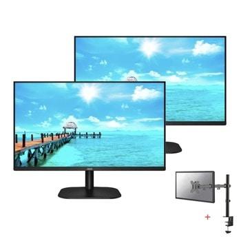 """Два монитора AOC 27B2H/EU в комплект със стойка за монитор/телевизор NewStar FPMA-D550DBLACK, 27"""" (68.58 cm) IPS панел, 75 Hz, Full HD, 4 ms, 20000000 :1, 250 cd/m2, HDMI, VGA image"""